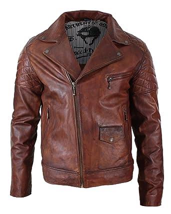 Veste cuir marron pour homme
