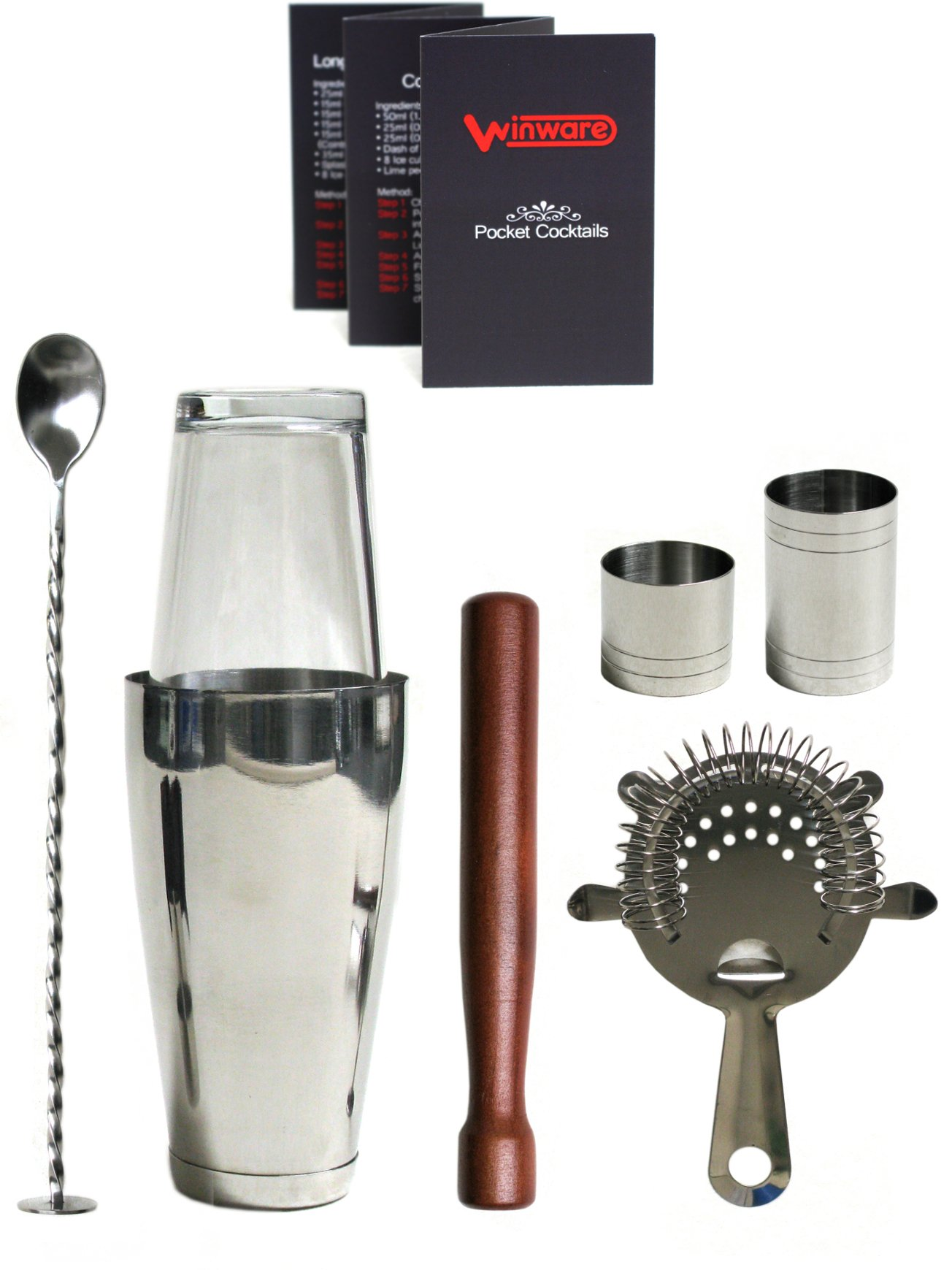 Winware Boston Cocktail Shaker Gift Set and Pocket Cocktail Guide with Winware Gift Box (6 Items)
