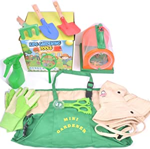 Kids Gardening Tools Set – Bug Catching Kit with Garden Gloves, Washable Apron, Sun Hat, Premium Quality Educational Toys for Real Planting, Beach Sand Toy, Outdoor Adventure, Gift for Your Toddlers