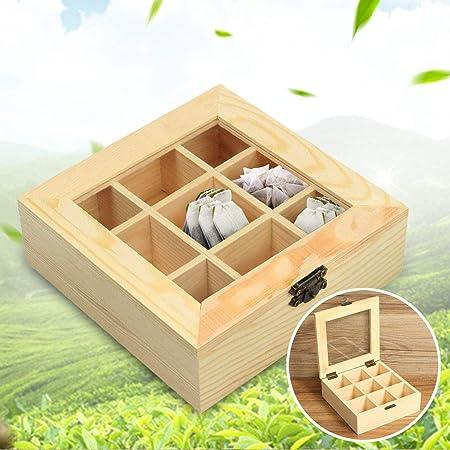 AQANATURE - Caja organizadora de madera para té, 9 compartimentos, ideal para guardar bolsas de té, bolsas de té, cajas de té, cajas de almacenamiento de madera: Amazon.es: Hogar