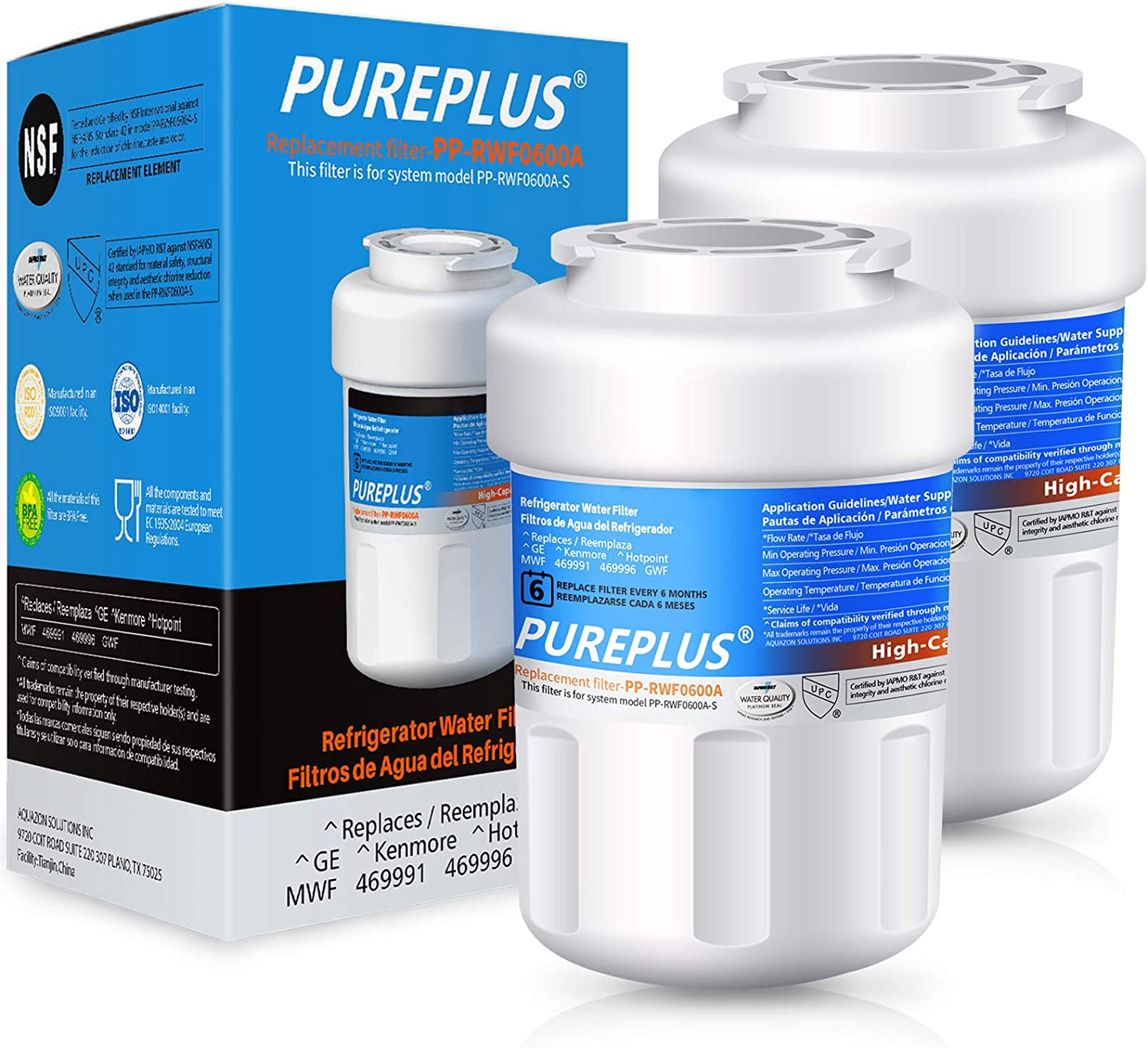 Amazon Com Pureplus Mwf Water Filter Replacement For Ge Smartwater Hdx Fmg 1 Mwfp Mwfa Pl 100 Wfc1201 Rwf0600a Pc75009 Rwf1060 197d6321p006 Gse25gshecss Kenmore 469991 Refrigerator Cartridge 2pack