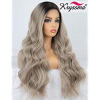 K'ryssma Ash Blonde Lace Front Wig Dark Roots Ombre Synthetic Wigs for Women Long Wavy Ombre Blonde Wig with Middle Part 22 Inches