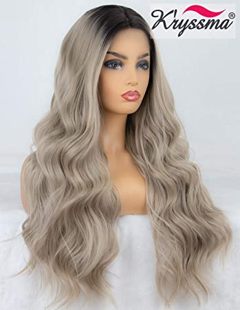 K ryssma Ash Blonde Lace Front Wig Dark Roots Ombre Synthetic Wigs for Women  Long ca8e5da8d9