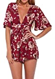 Lanzom Women's Red Boho V Neck Floral Print Romper Jumpsuit with Belt