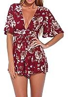 Lanzom Women's Red Boho V Neck Floral Print Romper Jumpsuit With Belt