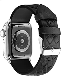 Secbolt Leather Bands Compatible with Apple Watch Band 42mm 44mm iWatch SE/Series 6/5/4/3/2/1, Soft Braided Leather Strap for Women, Black (42mm/44mm)