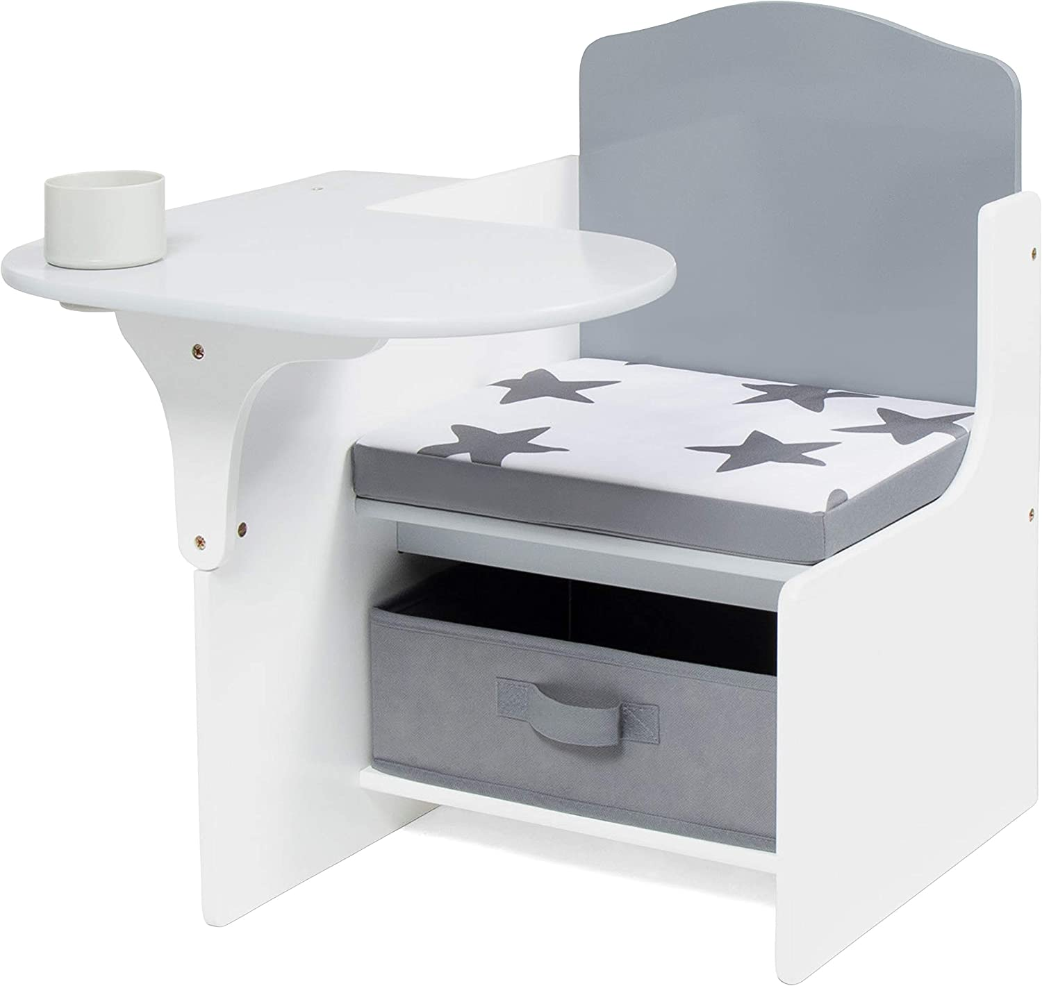 Milliard Chair Desk with Storage Bin for Kids, Children Activity Playset Furniture with Modern Grey Colors