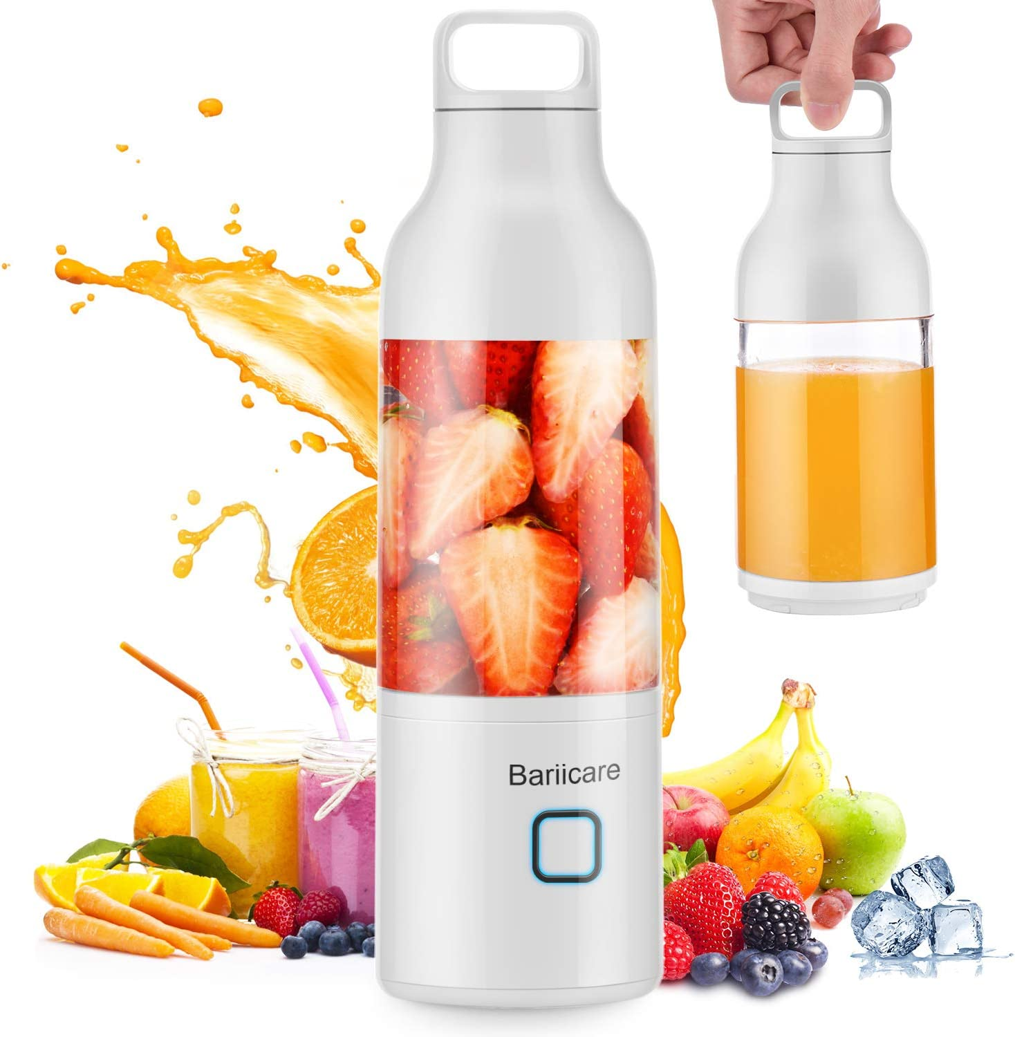 Portable Blender, [Updated 2020 Version] Bariicare Smoothie Blender with 4 Blades, 20 oz Travel Fruit Mixer Machine, 4000 mAh USB Rechargeable Ice Blender Mixer for Home, Office, Sports, Outdoors