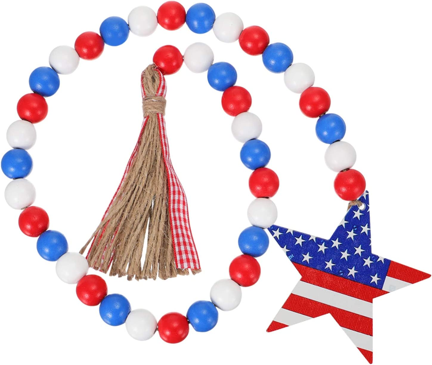 Amosfun Bead Garland red Wood White Wooden Beads for Decor- Tassle Garland Patriotic Wall Decor Wooden Bead- Independence Day Wooden Beads Pendant with- Tassel Home Hanging Pendant