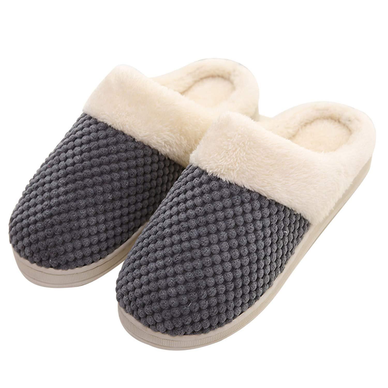 Women's Memory Foam Slippers Plush Lining Slip-On Clog Indoor Slippers House Shoes Darkgrey 45-46