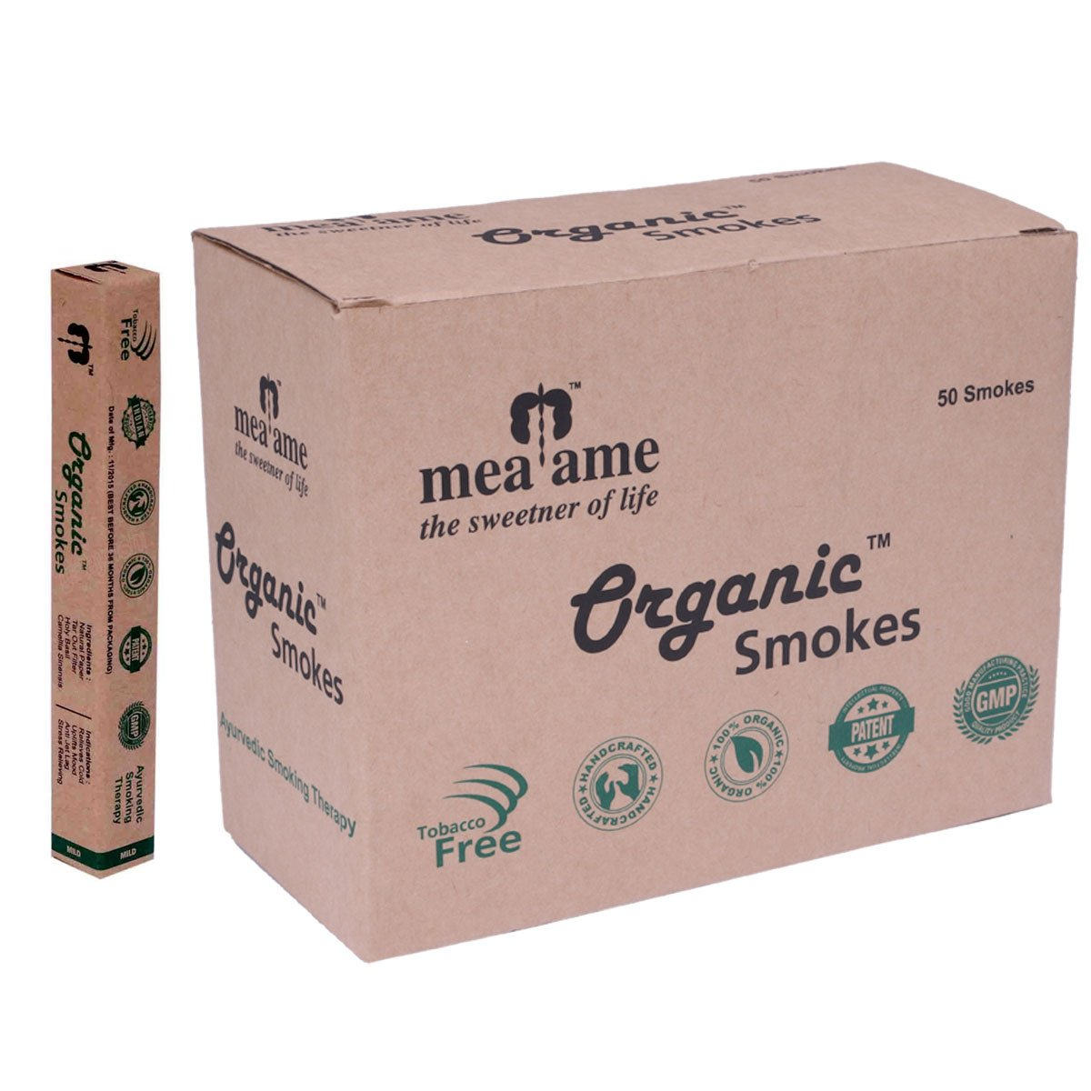 Organic Smokes - Luxury Herbal Cigarettes in Regular Flavor. 50's Economy box. Filter fitted. 100% Herbal, GMP Certified. Quit Smoking Aid. Hand crafted. Excellent Alternative to Ecstasy and Honeyrose