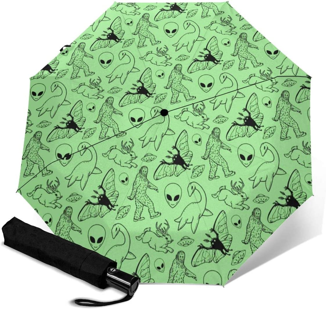 Aliens Bigfoot Savage Dinosaurs Green Automatic Open Folding Compact Travel Umbrellas For Women