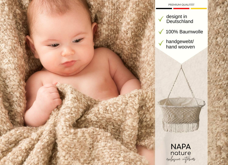100/% Naturbaumwolle h/ängende-Baby-Wiege Boho-H/ängematte handgemacht Federwiege swing-to-sleep Makramee Wiege von NAPA nature *EINF/ÜHRUNGSANGEBOT*: Premium H/ängewiege Baby mit Inlay