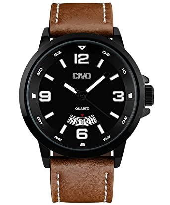 cheapo chronimax strap mens analog watch brown shop leather clearance watches stainless