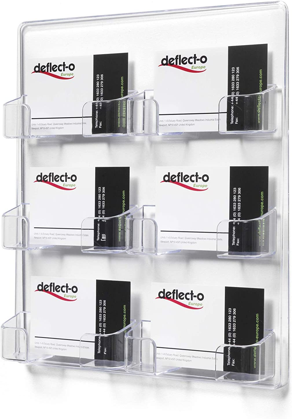deflect-o 70601 6-Pocket Clear Plastic Wall Mount Business Card Holder, 8-3/8w x 1-1/2d x 9-3/4h