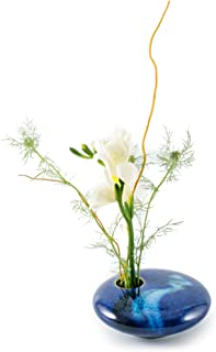 product image for Georgetown Pottery Small Round Ikebana Flower Vase, Blue Wave