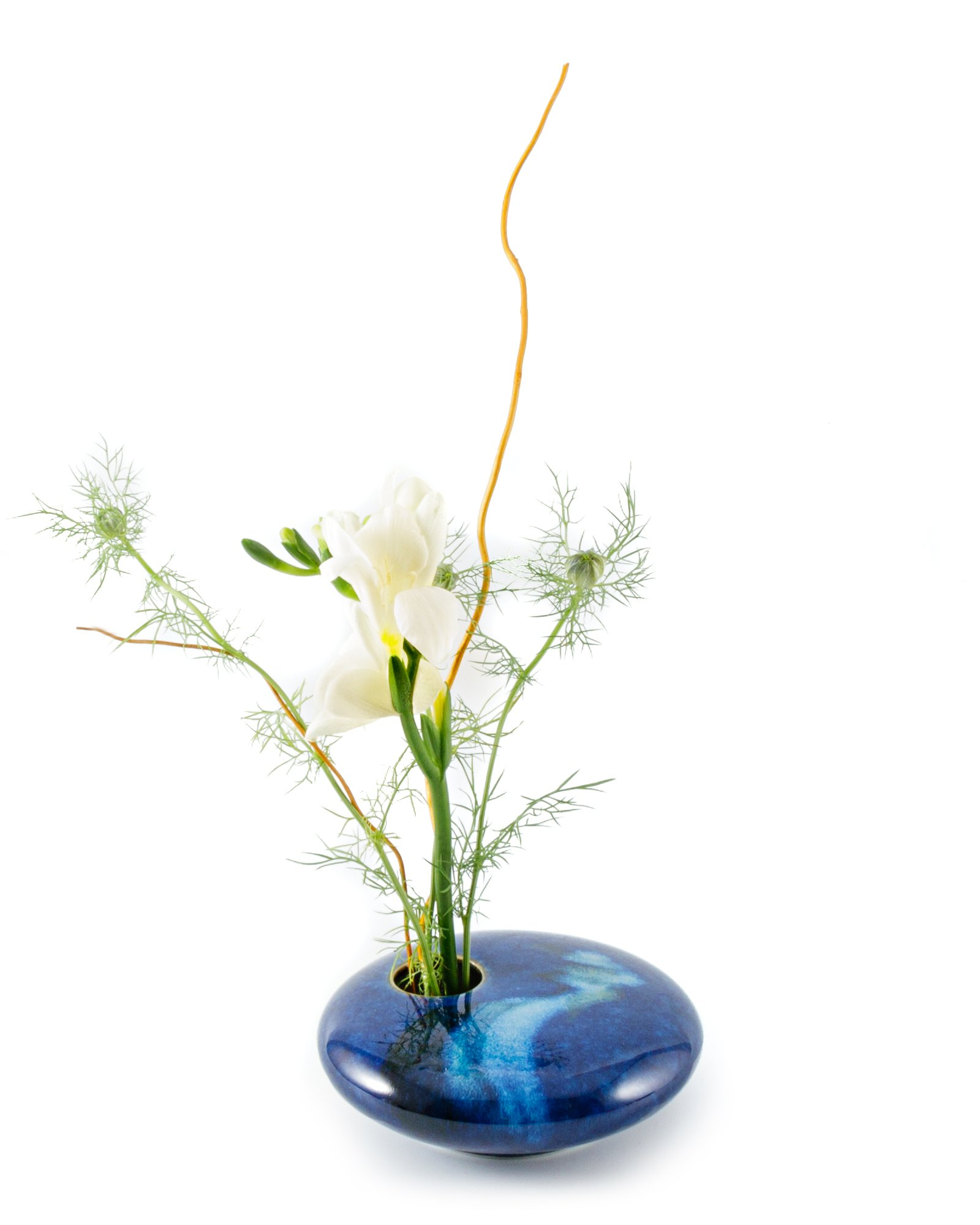 Georgetown Pottery Small Round Ikebana Flower Vase, Blue Wave