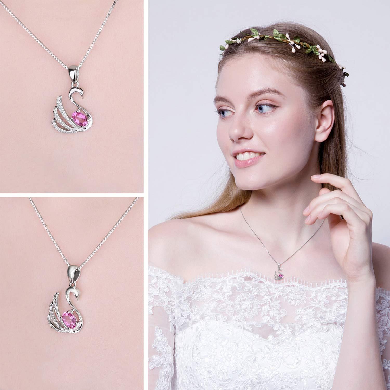 MMC Exquisite 0.5ct Pink Topaz Swan Gift Silver Pendants Necklaces