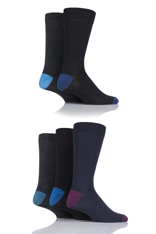 Hommes 5 Paires SockShop chaussettes en coton avec talon et orteils contrastés