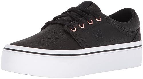 DC Women's Trase Platform TX SE Skate Shoe, Black/Gold, 5 B US