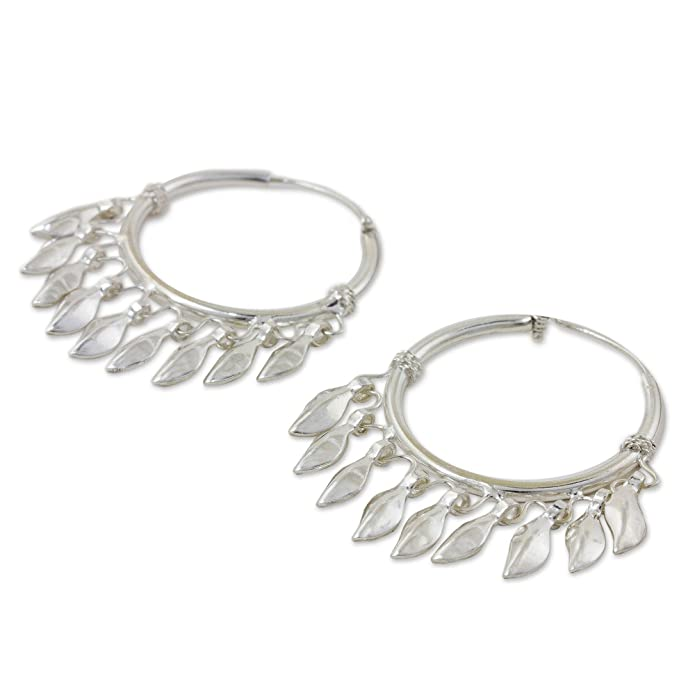 05406387a Amazon.com: NOVICA .925 Sterling Silver Chandelier Earrings, Leaves in the  Wind': Jewelry