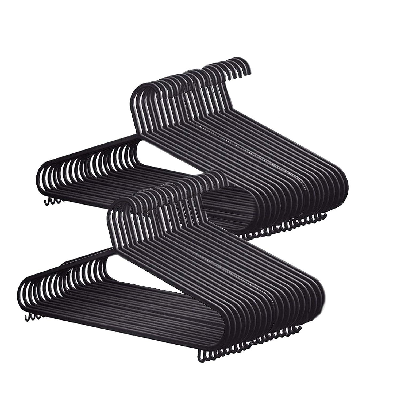 FARIL 20x Adult Swivel Hook Rotating Premium Heavy Duty Coat Hangers Black Colour 40cm Wide