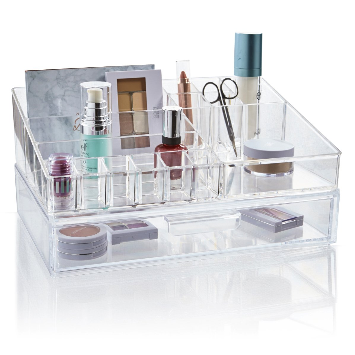 STORi Premium Quality Clear Plastic Cosmetic and Makeup Palette Organizer with 1 Drawer | Audrey Collection