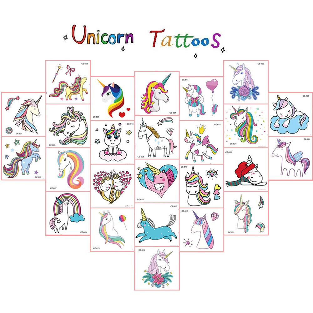 Vindyeer Unicorn Temporary Tattoos for Kids Birthday Party, Waterproof Unicorn Tattoo Stencil Unicorn Party Supplies 25 Pieces 2.5\