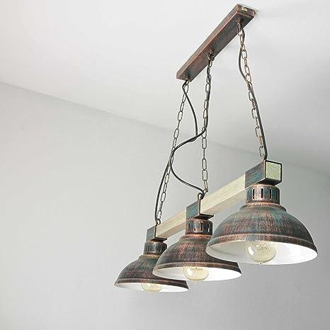 Lámpara de techo lámpara de techo rústico madera y metal ...