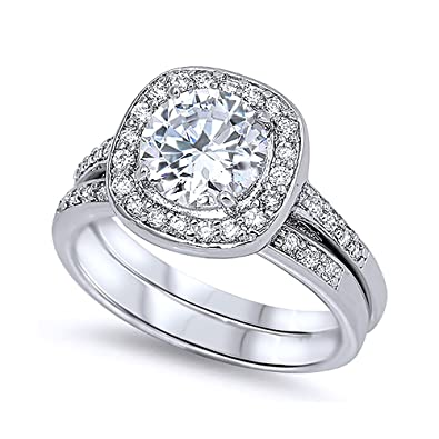 Sterling Silver Round CZ Halo Matching Band Wedding Ring Set 12MM Size 5 To 10