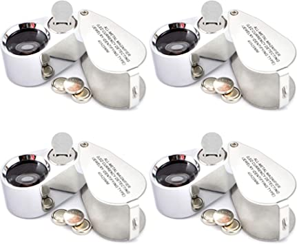 Jewelers Loupe Magnifier 40x LED//UV Illuminated Magnifier with Case
