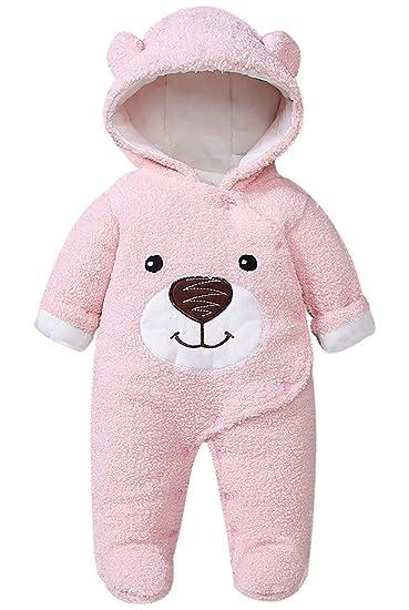 Newborn Baby Cute Cartoon Bear Warm Fleece Footed Hooded Romper Jumpsuit Snowsuit