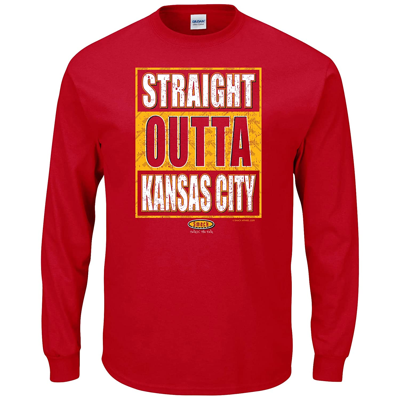 Smack Apparel Kansas City Football Fans Straight Outta Kansas City Red T-Shirt Sm-5X