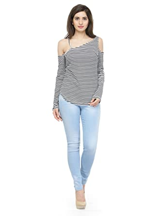 11c488e90b9dff Silly People Top for Women - Black and White Striped Cold-Shoulder Sleeves  Top - Soft Cotton Material - Stylish Top wear for Ladies - Casual Wear /  Daily ...