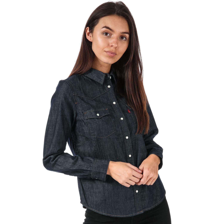 TALLA S. Levi's mujer pantalones vaqueros de la camisa 24996-0002 AZUL