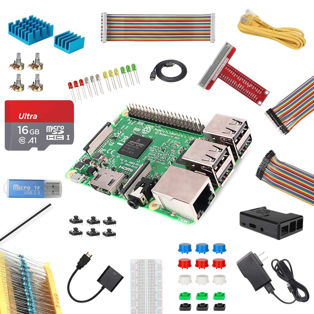 HSU Raspberry Pi 3 B Kit with Black Case for Starters,Including 16G MicroSD Card, Power Supply and Other Electronic Component