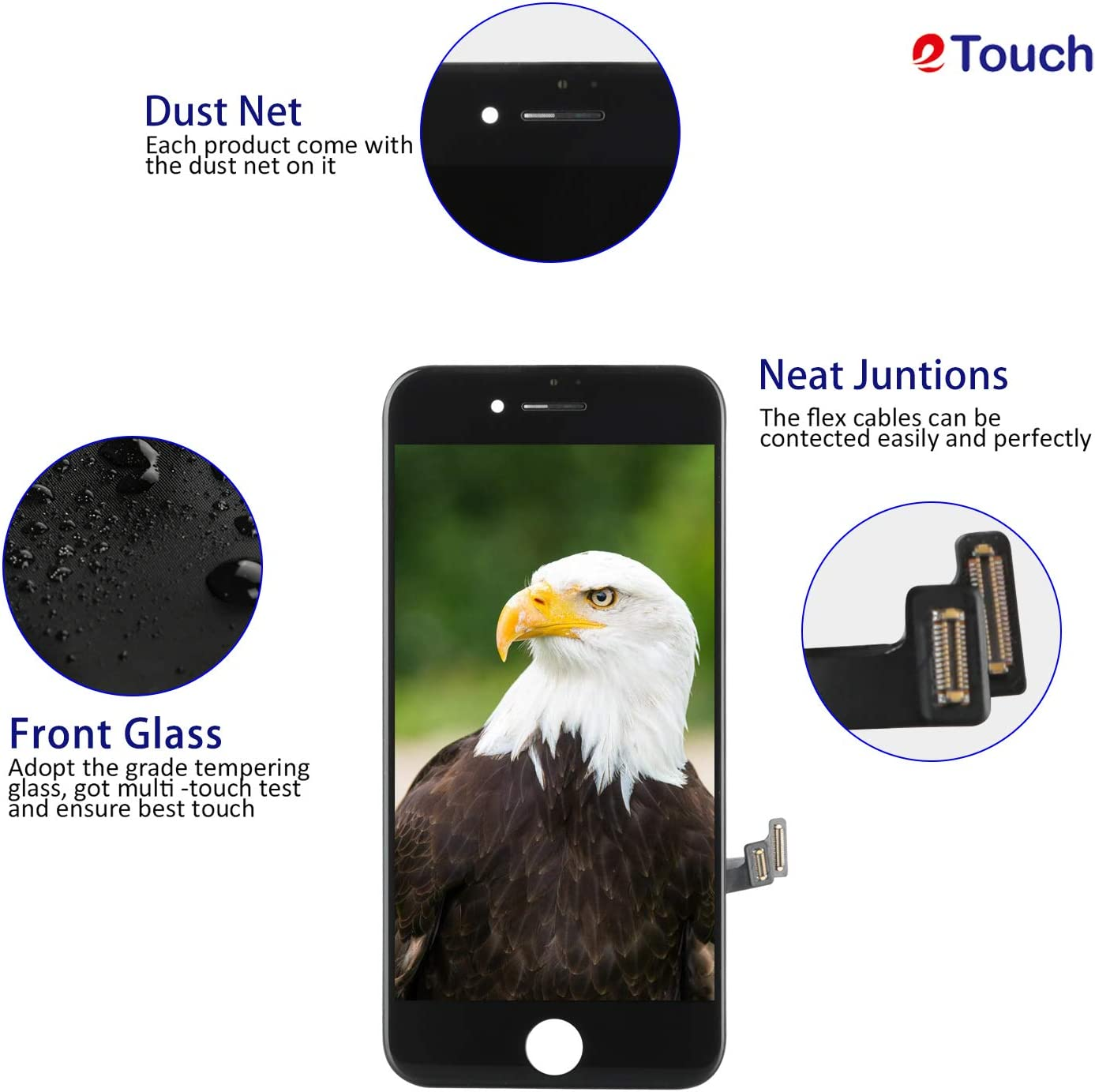 for iPhone 7 Plus Screen Replacement Black LCD Display Compatible,for Phone 5.5 Inch Screen Touch Digitizer Assembly,Include Senior Repair Tools Kit+Screen Protector+3PCS Waterproof Screen Adhesive