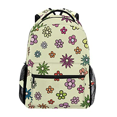 df0ae5841491 Image Unavailable. Image not available for. Color  Backpack Travel Cartoon Flower  School Bookbags Shoulder Laptop Daypack College Bag ...