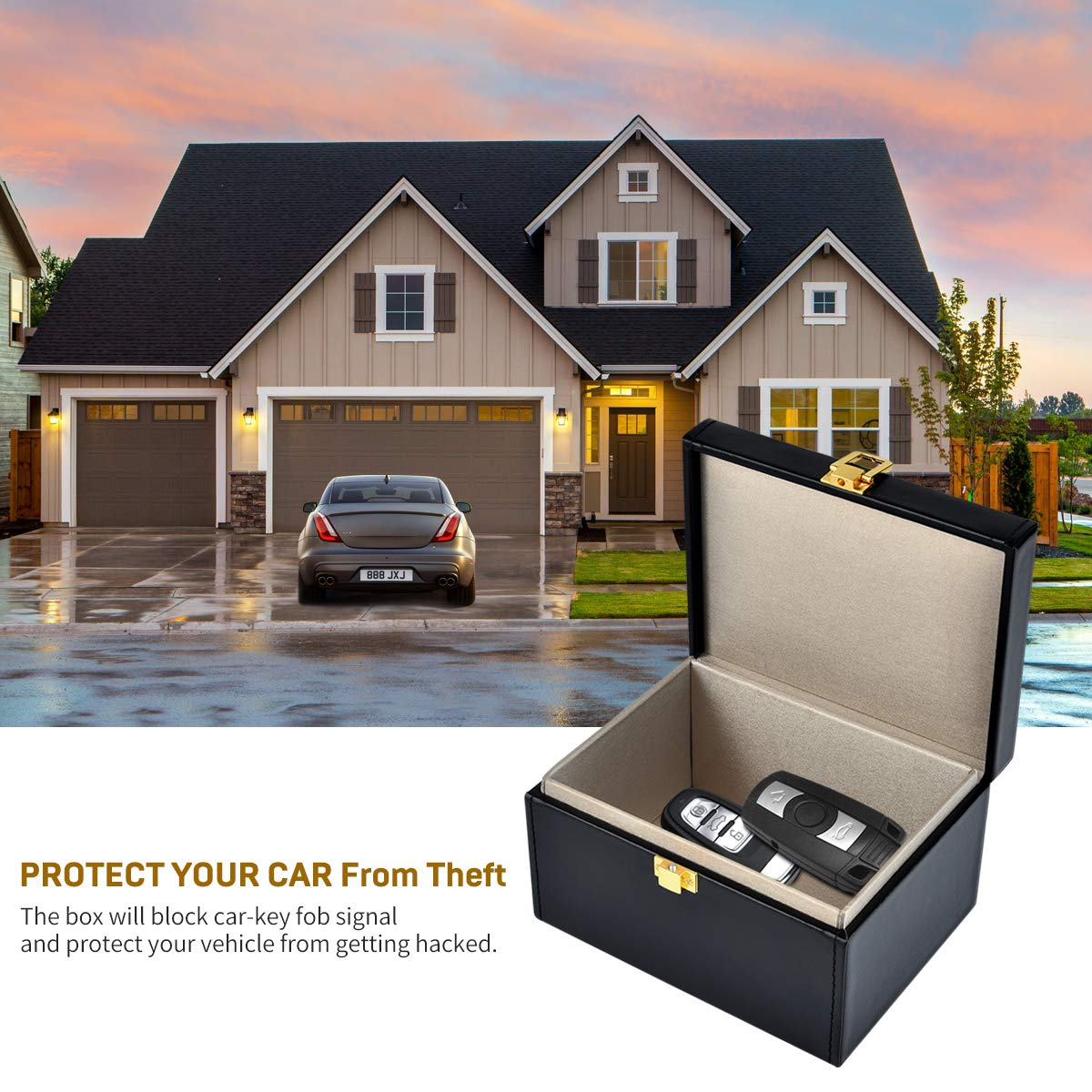 Miavogo Faraday Box for Car Keys RFID Signal Blocker Box Anti-Theft Faraday Pouch Bag Large for Keyless Cars Phones