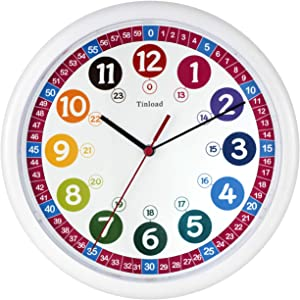 Tinload Telling Time Teaching Clock, 10 inch Silent Movement Analog Learning Clock for Kids, Perfect Room & Wall Decor for Classrooms, Playrooms and Kids Bedrooms (White-c)