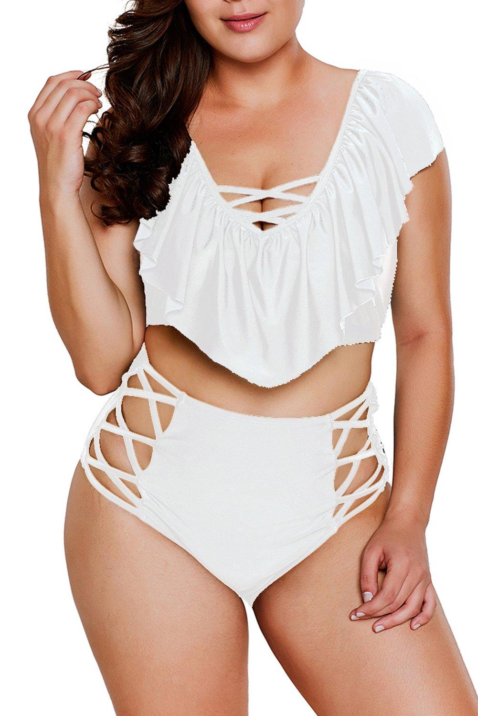 Papaya wear Plus Size Ruffles High Waist Bikini Sets Swimsuit White XL