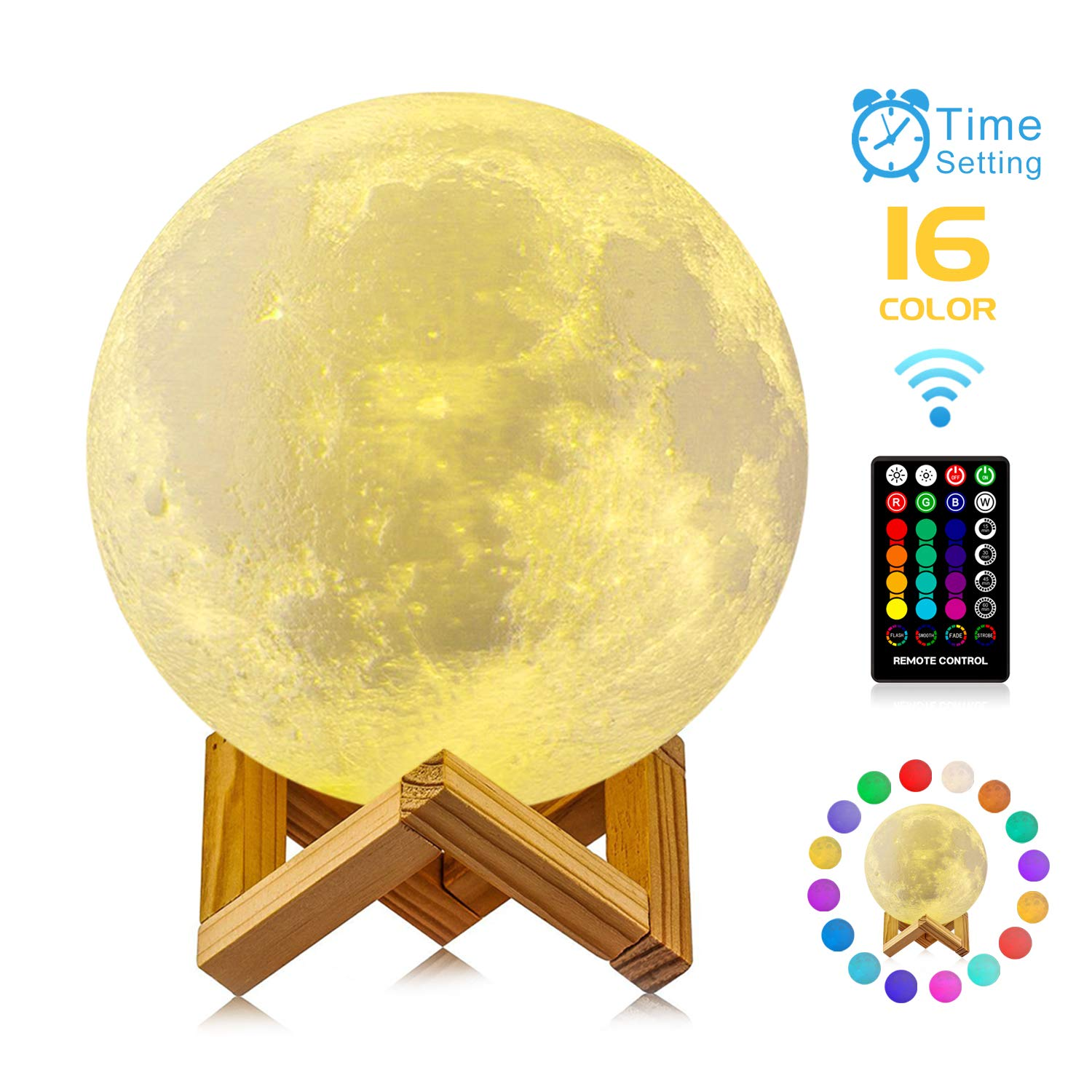 Moon Lamp, GDPETS 3D Printing 9.6 Inches 16 Colors Moon Night Light with Stand & Remote &Touch Control and USB Rechargeable Decorative Luna Lamp by GDPETS
