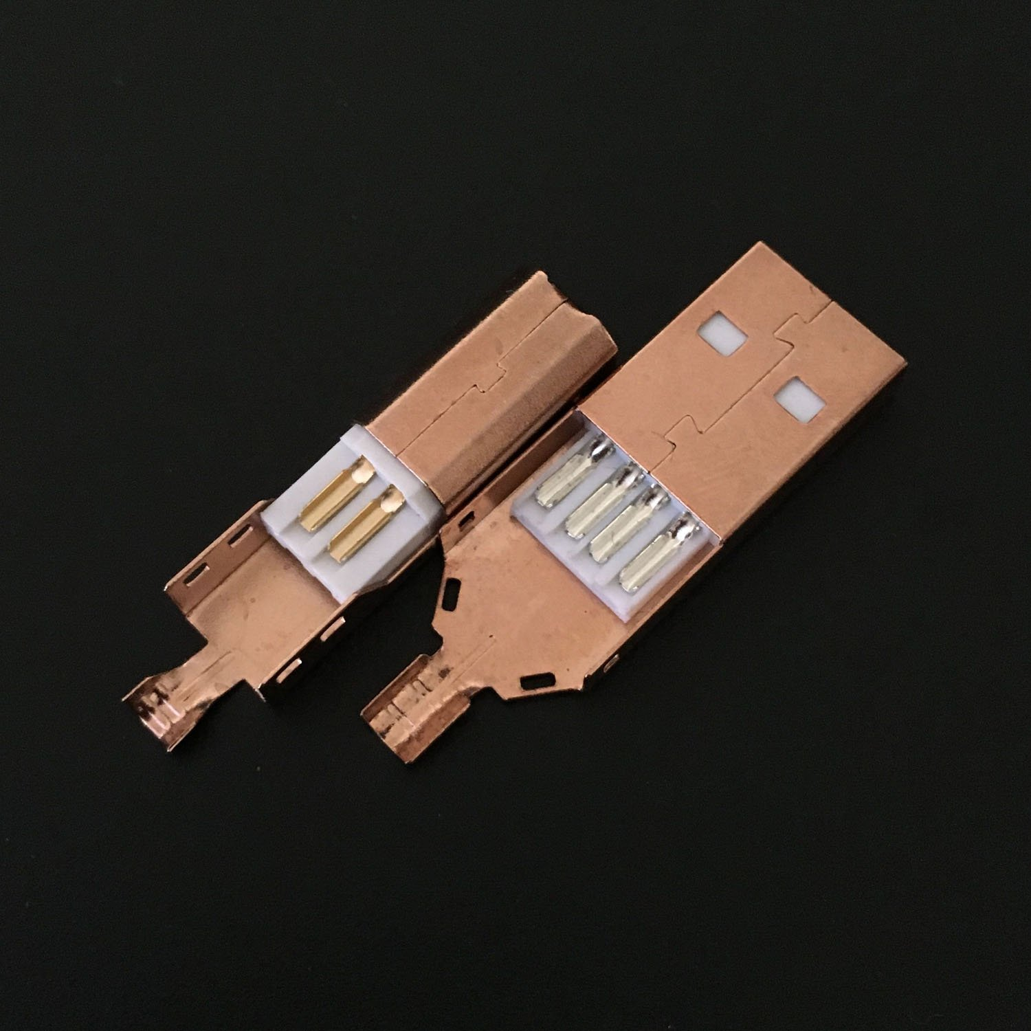 USB 2.0 A Male to B Male Plug Rose Gold Plated Connector Metal Cover Weld Foot