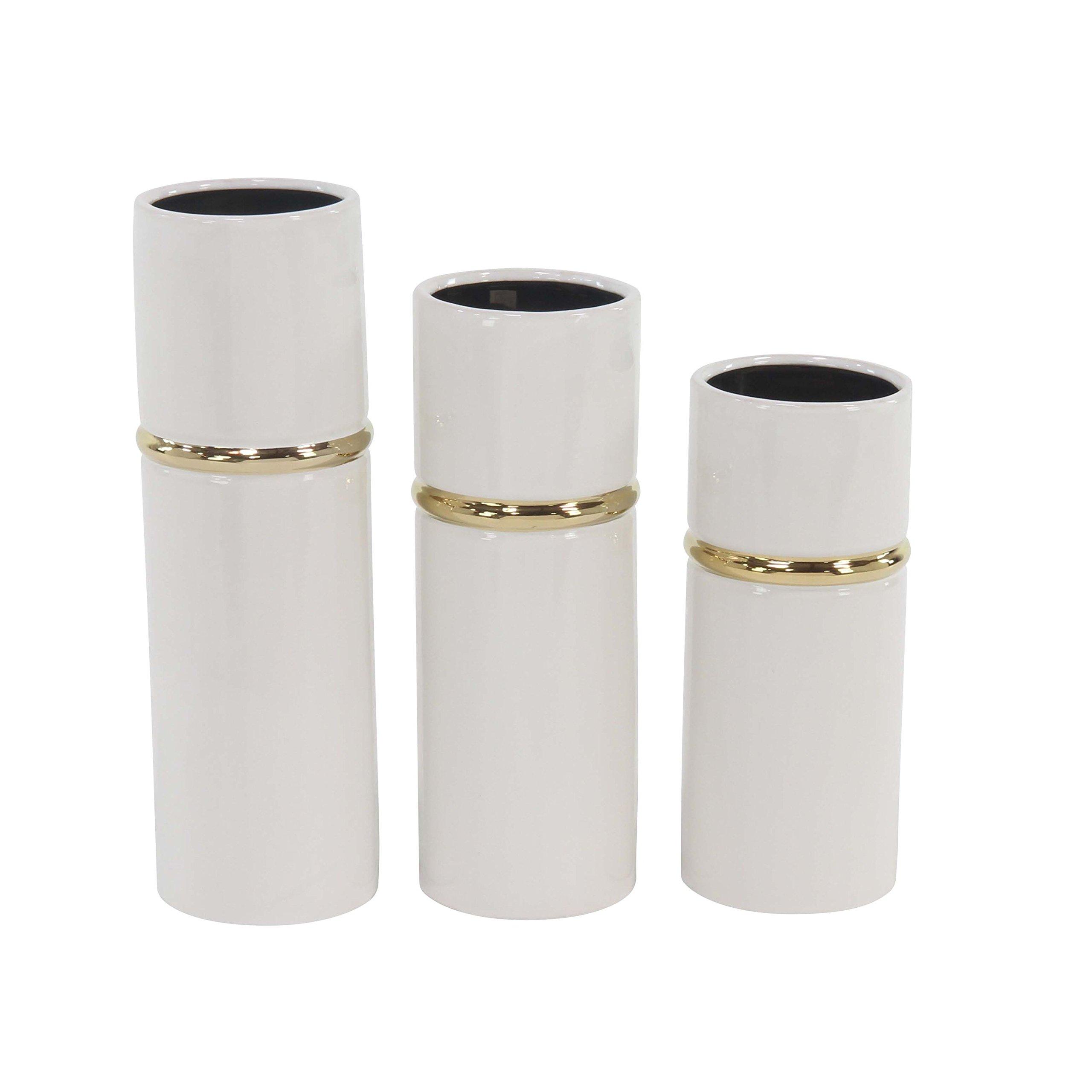 Set of 3 Modern Ceramic Cylindrical White Vases