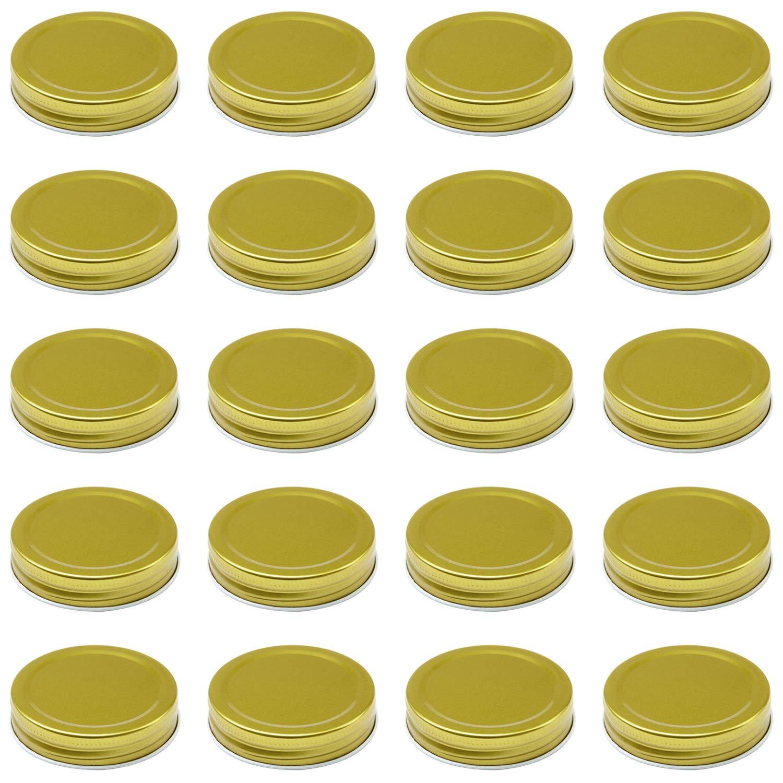 Resinta 20 Pack Regular Mouth Mason Jar Lids Silicone Seals Leak Proof Secure Mason Storage Solid Caps Gold, Regular Mouth