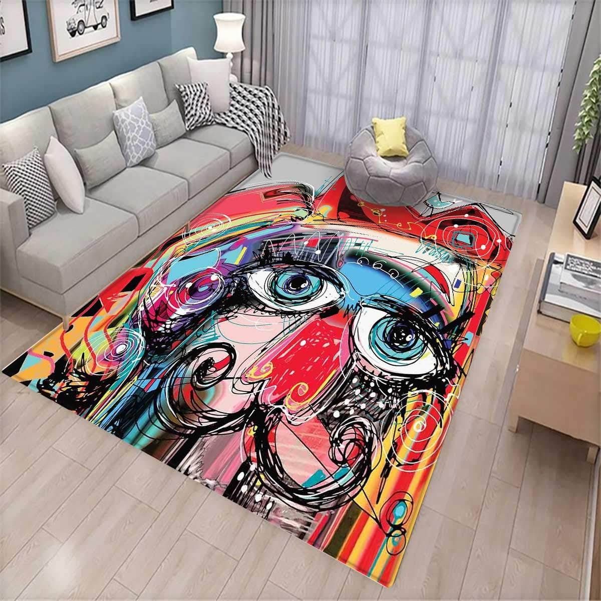 Art Anti-Static Area Rugs Grafitti Like Sketchy Style Colorful Painting with Human Like Face Dog Animal Image Children Kids Nursery Rugs Floor Carpet Multi Colored