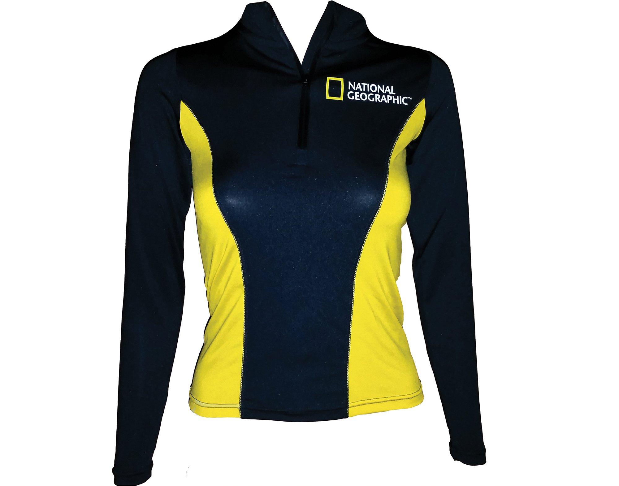 National Geographic Snorkeler 6276 Long sleeve Rash Ladies Classic Black/Yellow Small, Black