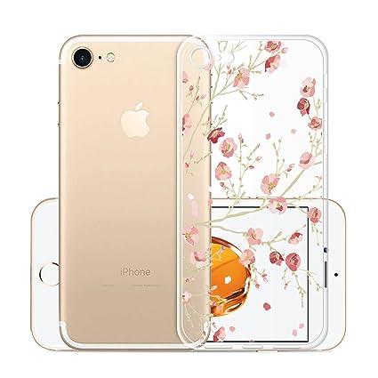 Para iPhone 7 / iPhone 8 Carcasa , YIGA Moda Flores De Color Rosa Transparente TPU Gel Cubierta De Silicona Suave Funda Tapa Case Cover para Apple ...