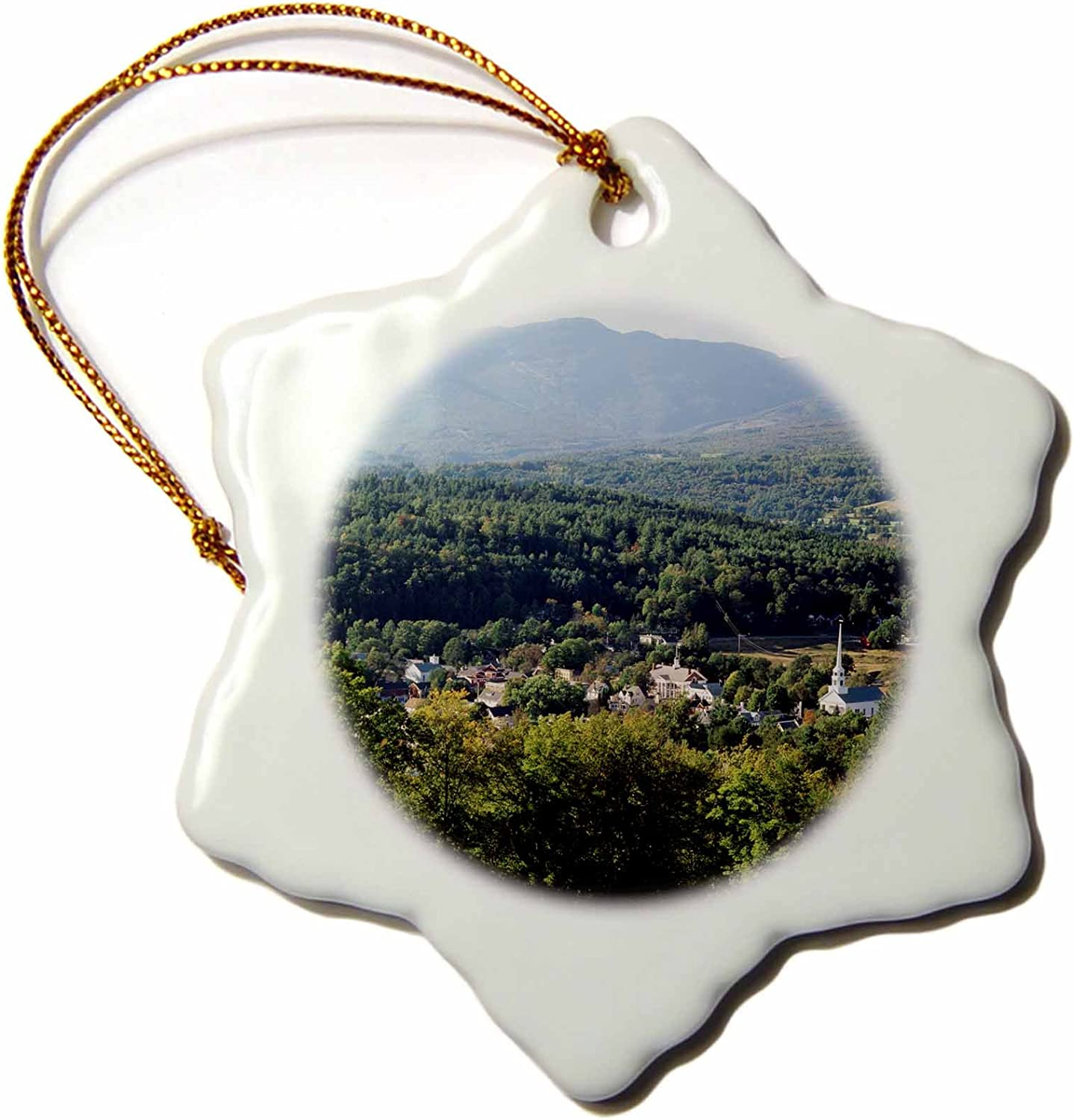 3dRose View of town with mountain, Stowe, Vermont, USA - US46 WBI0050 - Walter Bibikow - Snowflake Ornament, Porcelain, 3-inch (orn_147692_1)