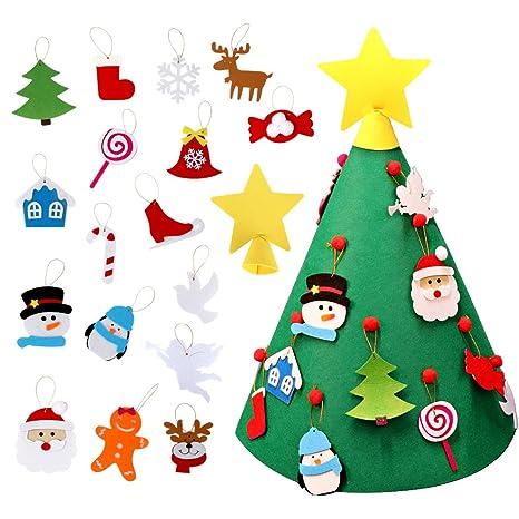 Regali Di Natale Per Casa.Aerwo Fai Da Te Albero Di Natale In Feltro Con 26 Ornamenti Regali Di Natale Di Capodanno Per I Bambini Regalo Di Natale Decorazioni Per La Casa Di
